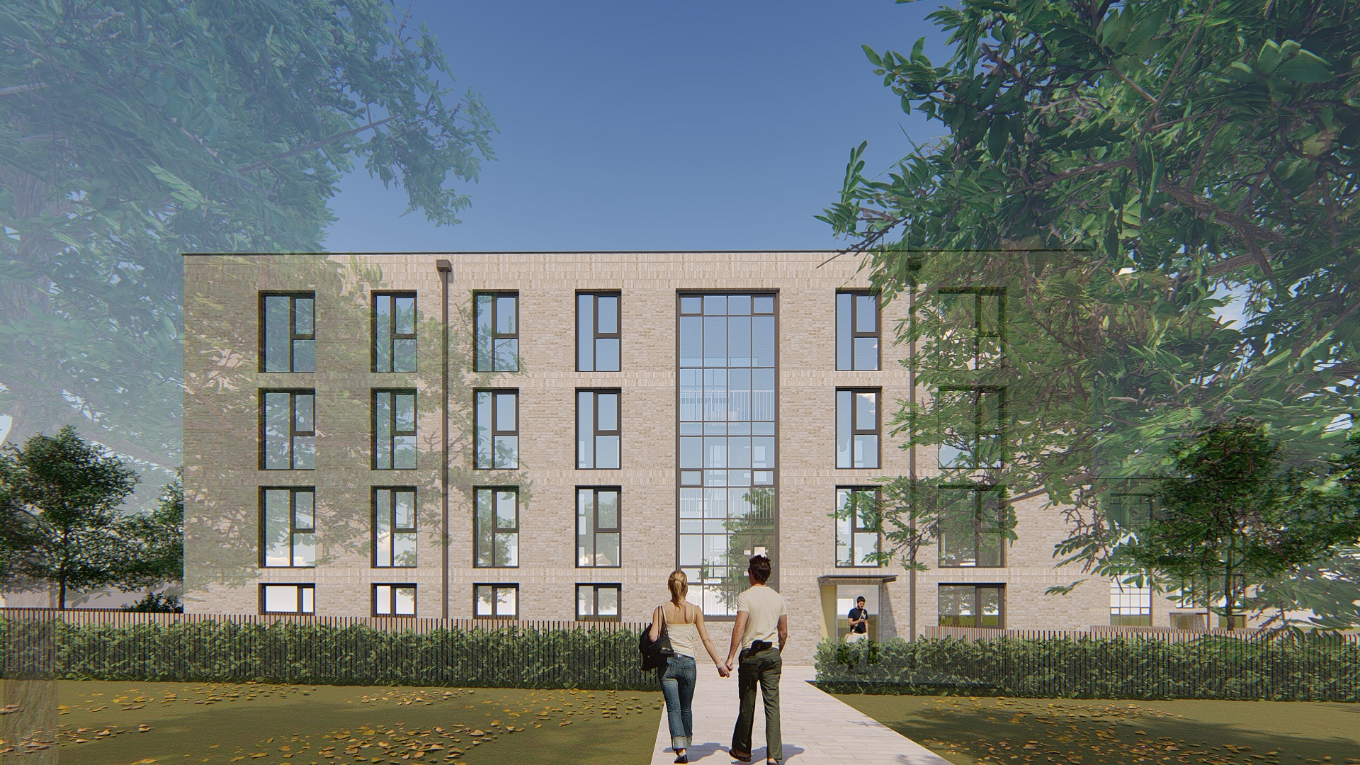 Visualisation of the completed refurbishment of Bradford Park flats